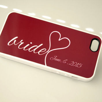 Bride iPhone Case Silicone iPhone Case Wedding iPhone 6 Case iPhone 6 Plus Case 6+ Case Burgundy Red Wine