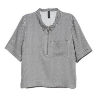 Short-sleeved shirt - Black/White/Checked - Ladies | H&M GB