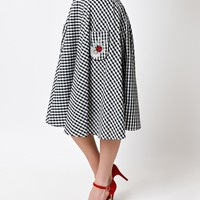 Hell Bunny 1950s Black Gingham High Waist Ladybird Swing Skirt