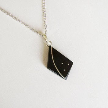 Geometric wood pendant in Ebony and Sterling Silver, silver plated chain - Women or Men Necklace - Black and Silver - Men Pendant