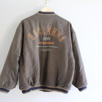 Tobacco brown wool blend HACIENDA CLUB bomber jacket unisex style 80's size m - l