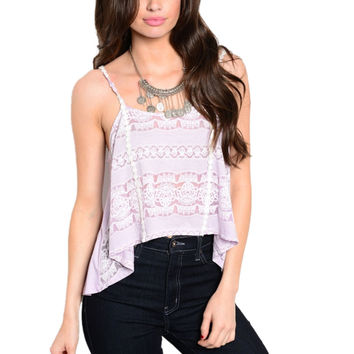 Spaghetti Strap Floral Crochet Hi-Low Crop Top