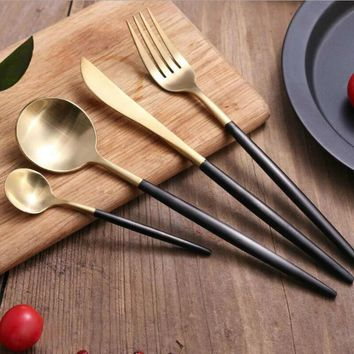 4Pcs/Lot Golden Black Handle Dinnerware Set 18/10 Stainless Steel Knife Fork Knife Scoops Cutlery Set Top Grade Tableware Set