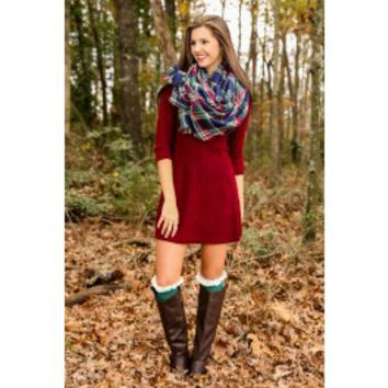 Home Away From Home Sweater Dress-Burgundy