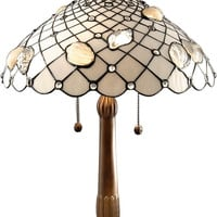 """0-023175>26""""h Tiffany Shells Table Lamp Antique Brass Plating"""
