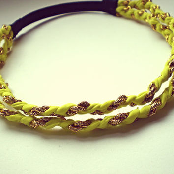 Neon Yellow and Gold Double  Braided Headband Hippie Headband Indie Hair Accessories Boho Band