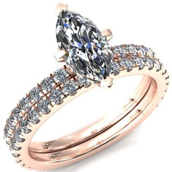 Sicili Marquise Moissanite 4 Prong Micro Pave Diamond Sides Engagement Ring