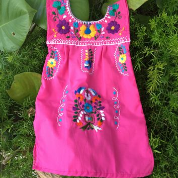 Mexican Sleeveless Dress for Girls Pink