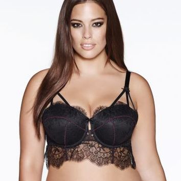 Ashley Graham - Convertible Lace Crop Bra | Addition Elle
