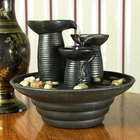 Three Pillars Pouring Table Fountain w/ LED Light