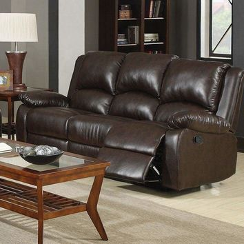Modern Style Three Seat Reclining Motion Sofa In Leatherette, Brown - 600971