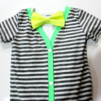 Neon Baby Cardigan Onesuit with Bow Tie. Baby Boy Outfit.  Short sleeve preppy trendy gray lime yellow striped.
