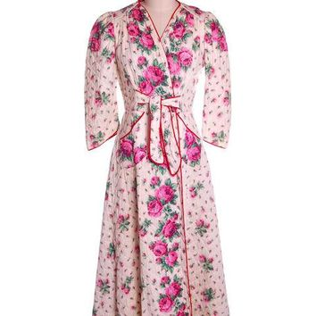Vintage Quilted Cotton Robe Super 1940s Red/Pink Roses Border  36-30-49