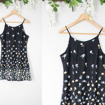 Vintage Black Floral Babydoll Dress