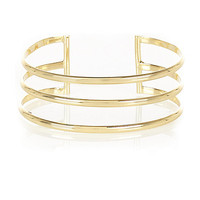 River Island Womens Gold tone three row cuff
