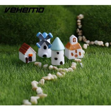 Vehemo Auto Fairy Garden Miniature Stone House Figurine Craft Micro Cottage Landscape Ornament Decoration Random Color