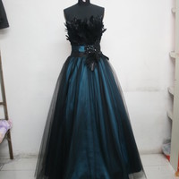 FEATHERED STRAPLESS FLOOR LENGTH PROM DRESS