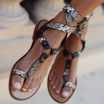 Summer Bunions Flat Leather Slide Sandals