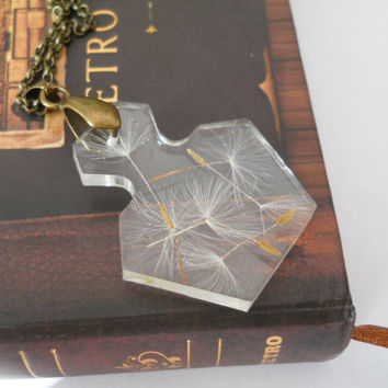 Miniature bottle necklace, real dandelion in resin, make a wish, real flower necklace, resin flower jewelry, botanical art, bottle pendant