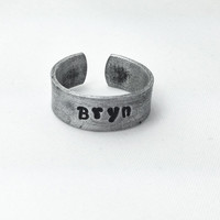 Personalized Ring, Hand Stamped Ring, Aluminum Ring, Adjustable Ring