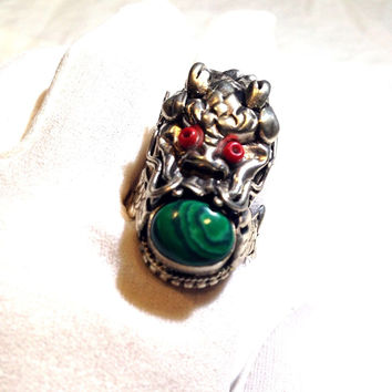 Vintage Dragon Genuine Malachite Stone Size 8 White Brass Ring