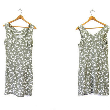 Sage Green 90s Floral Dress Flower Print Mini Dress Boho Grunge SunDress White Flirty Minidress Express 1990s Sun Dress Size XS Small