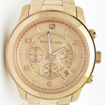 Michael Kors MK-8096 Oversized Rose Gold Chronograph Dial Link Band Watch Gift