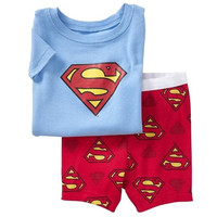 New Arrival Superman Boy's Summer Pajamas Suits Blue T-Shirts Red Pants Children Pyjama Nightdress Girl Dress = 1946459780