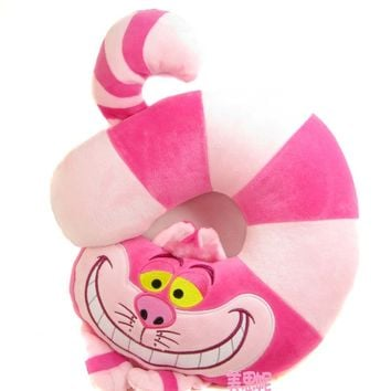 New Alice In Wonderland Cheshire Cat Stuff Plush U Shaped Neck Pillow Toy Doll Birthday Gift Collection