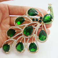 Vintage Nigerian African Jewelry Pendant Classic Emerald Green Peacock Bird Rhinestone Crystal Brooch Pin Earring Set
