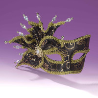 Deluxe Women's Masquerade Masks Black/Gold