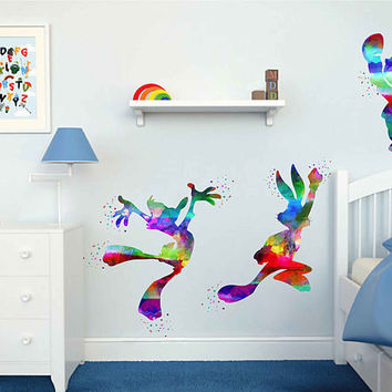 kcik2021 Full Color Wall decal Watercolor Character Disney Sticker Disney children's room Bugs Bunny rabbit Daffy Duck Porky Pig