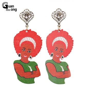 Stamped Native American Aboriginal Figure Wood Afro Earrings Brincos Indian Style Jewelry For Christmas Gift 6 Colors