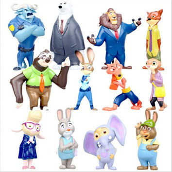 Zootopia 12 piece set Movie Cartoon Utopia Action PVC figure mini figurine nick fox judy rabbit
