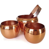 Coppercraft Bar Set, Copper Ice Bucket, Two Roly Poly Glasses, Ice Tongs