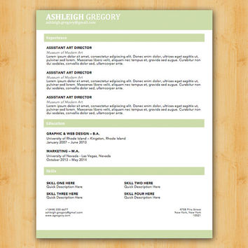 Gregory Resume Template - Modern Resume Template - Instant Download - Microsoft Word DocX and Doc Format