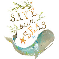 Save Our Seas Art Print by Katie Daisy