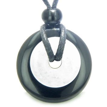 Double Lucky Amulet Ying Yang Donuts Black Onyx Jade Spiritual Good Luck Magic Pendant Necklace