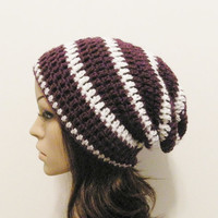 LazyDay Slouch Beanie  Eggplant White Stripes