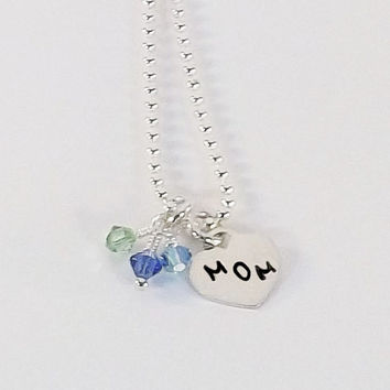 Sterling Silver Hand Stamped Mom Necklace with Swarovski Crystal Birthstone Dangles
