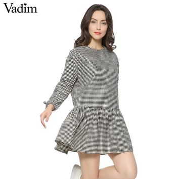 Women pleated plaid dress ruffles checkered long bow tie sleeve loose back buttons thick warm casual