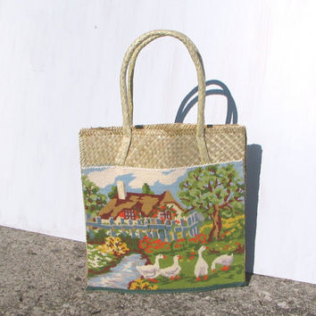Embroided straw bag, feminine basket with embroidery, embroided canvas, retro, country, summer, ducks, OOAK