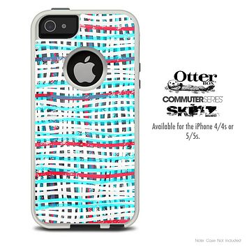 The Woven White & Blue Skin For The iPhone 4-4s or 5-5s Otterbox Commuter Case