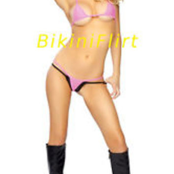 SEXY SKIMPY HOT PINK TINY EXTRA MICRO THONG BIKINI! BRAND NEW! MADE IN USA!!