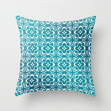 Diamond Floral Organic Geometric Pattern Shine & Shadow (Teal, Deep Blue) Throw Pillow by AEJ Design