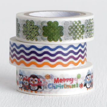 Choose One or Three Washi Tapes, Merry Christmas Owls, Four Leaf Clovers, Wiggly Multicolor Stripes 15mm x 10m