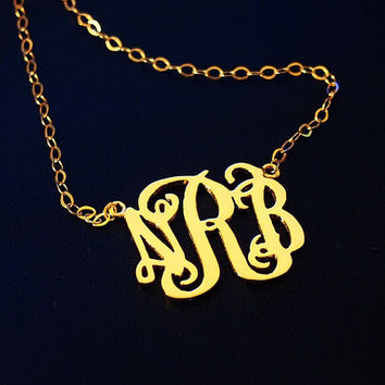 monogram necklace for mom women 1 inch 3 initial Personalized necklace, Monogram necklace, name monogrammed custom Monogram necklace