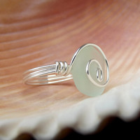 Pale Aqua Frosted Glass Ring:  Fine Silver Swirl Spiral Wire Wrapped Light Seafoam Mint Green Sea Glass Beach Jewelry, Size 6