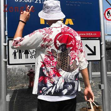 Trendy Zongke Japanese Kimono Cardigan Men Long Carp Print Floral Kimono Cardigan Men White Summer Japan Kimono Men Jacket 2018 AT_94_13