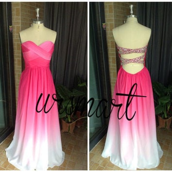 Hot Pink and White Ombre Prom Dress/Sexy Long Prom Dress/Beading Party Dress/Bridesmaid Dresses/Open Back Prom Dresses 2015